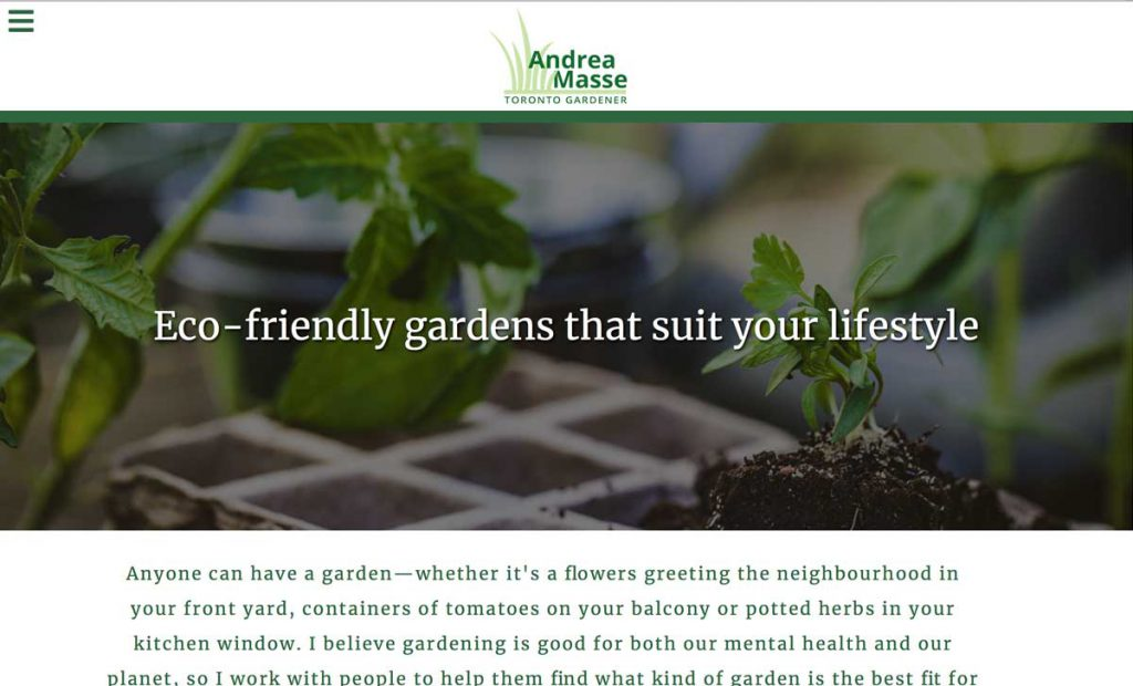 Screenshot of the Andrea Masse gardening website