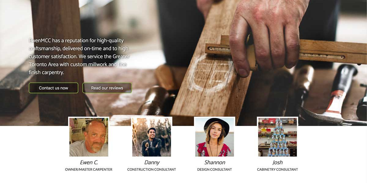 Screenshot of master carpenter Ewen Cameron's website
