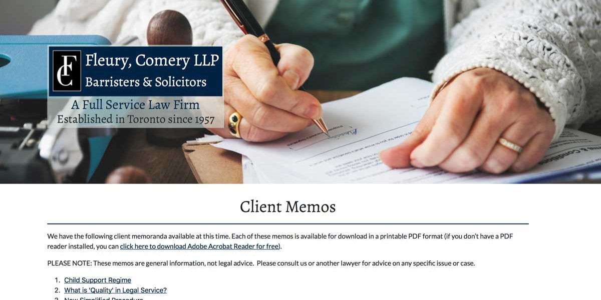 Screenshot of the Fleury, Comery LLP website