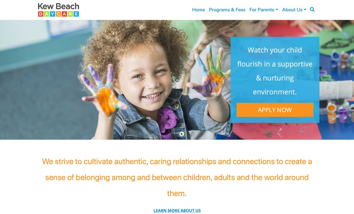 Screenshot of the Kew Beach Daycare website