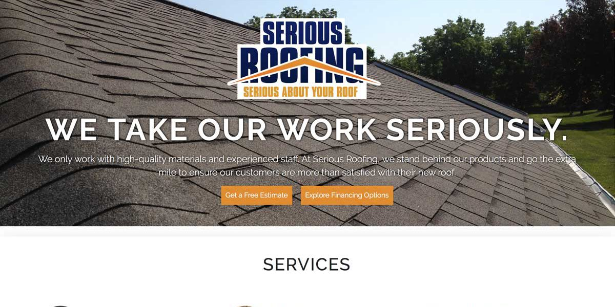 Screenshot of Serious Roofing's website