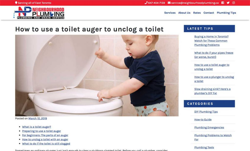 Screenshot of the Neighbourhood Plumbing website, showing a blog post