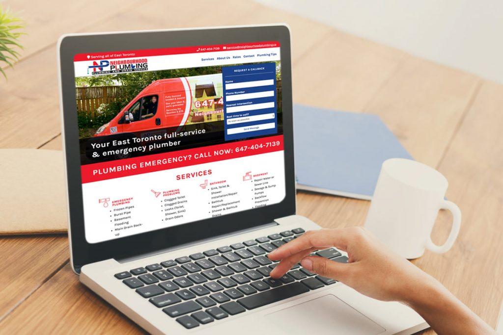 The Neighbourhood Plumbing website being viewed on a desktop computer.