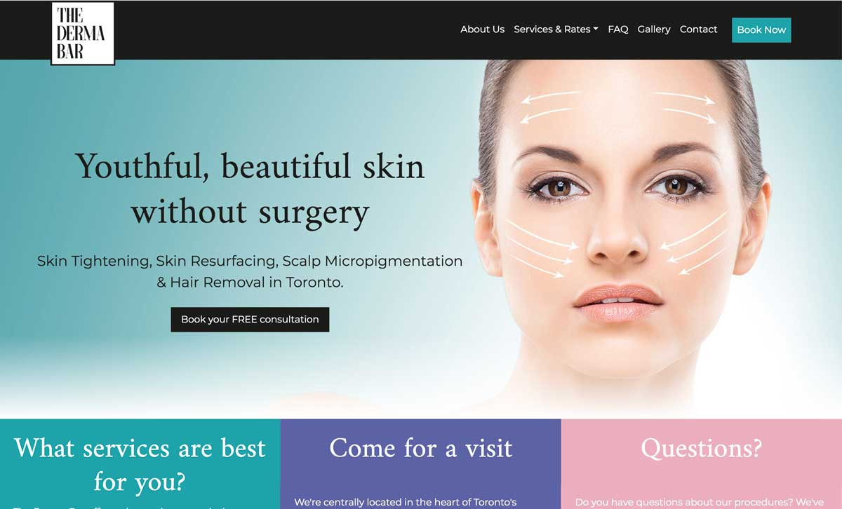 Screenshot of The Derma Bar website