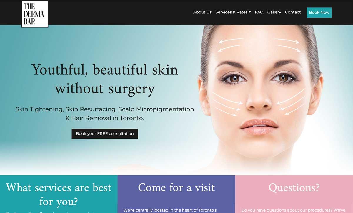 Screenshot of The Derma Bar website