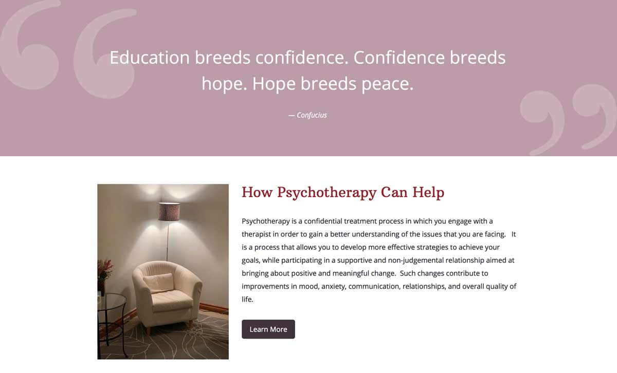 Screenshot of part of Tara Shannon's psychotherapy website