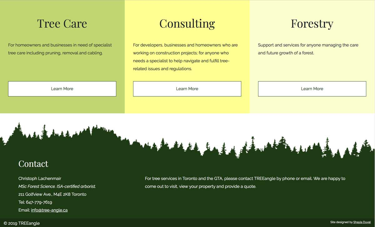 Screenshot of the footer design of TREEangle's website