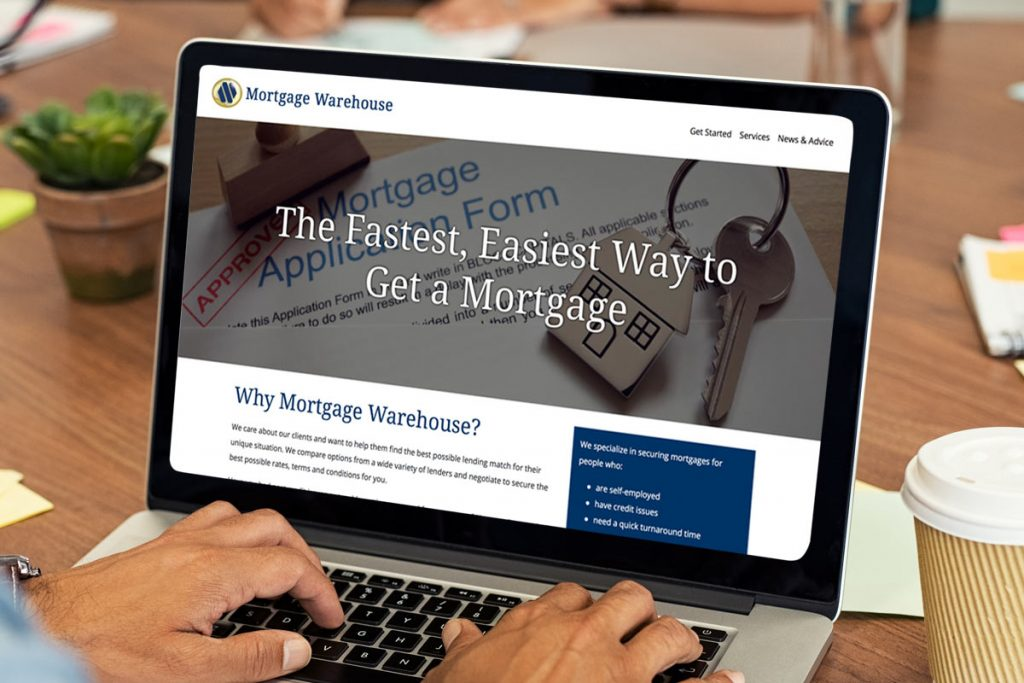 The Mortgage Warehouse website being viewed on a desktop computer.