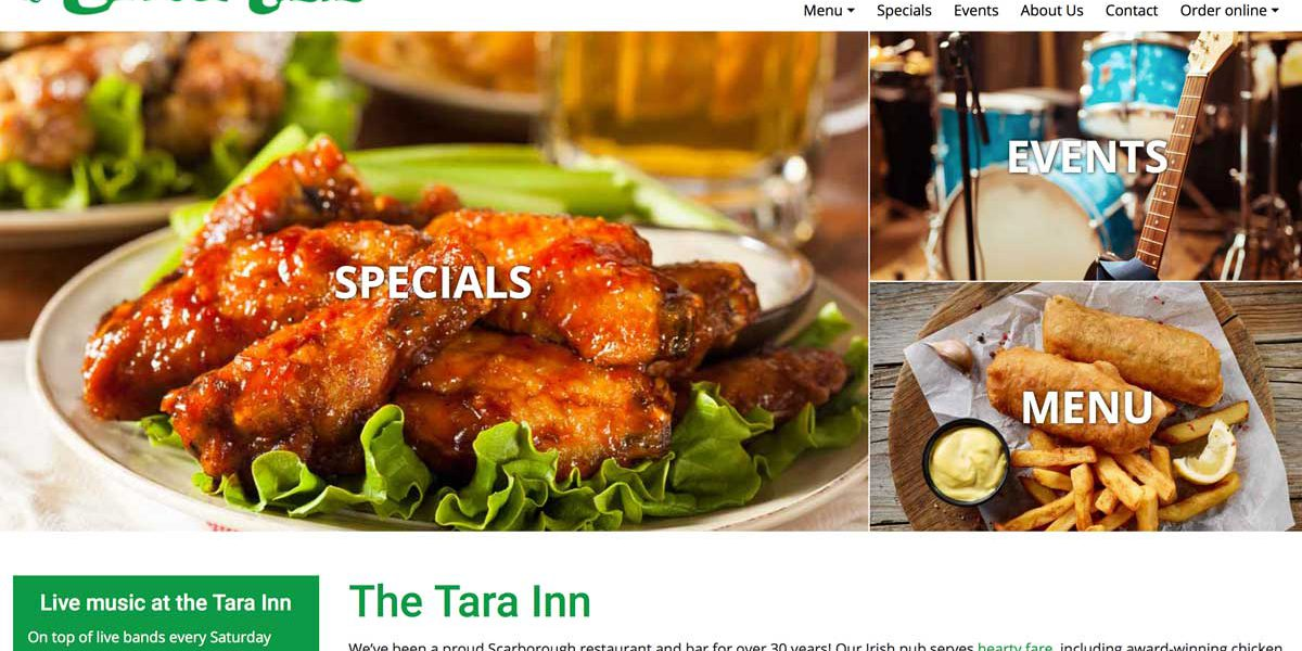 Screenshot of the Tara Inn website