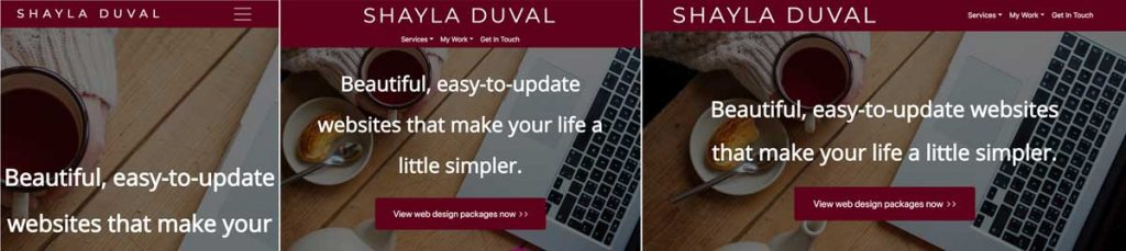 Screenshots of shayladuval.ca on mobile, tablet and desktop.