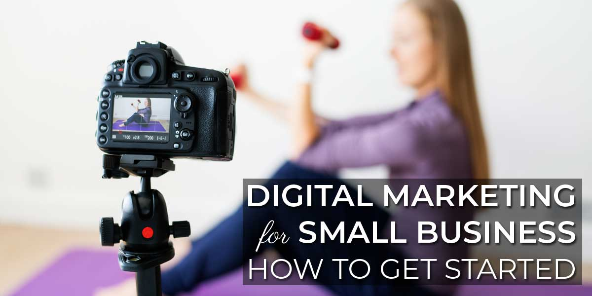 Personal trainer recording a fitness video as part of her small business digital marketing strategy