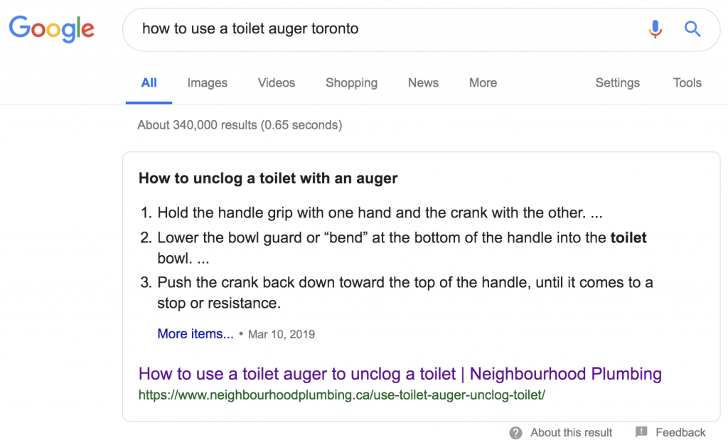 "Screenshot googling ""how to use a toilet auger toronto"" with my article for Neighbourhood Plumbing ranked first"