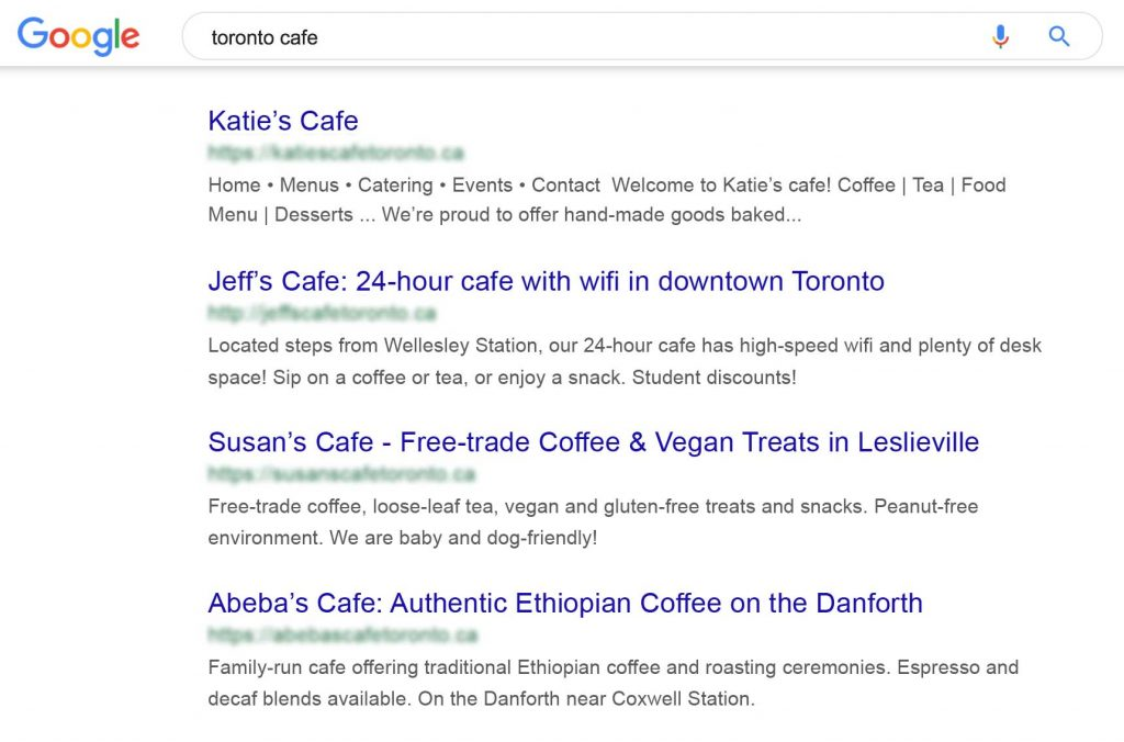 A google search showing good and bad meta descriptions for cafes