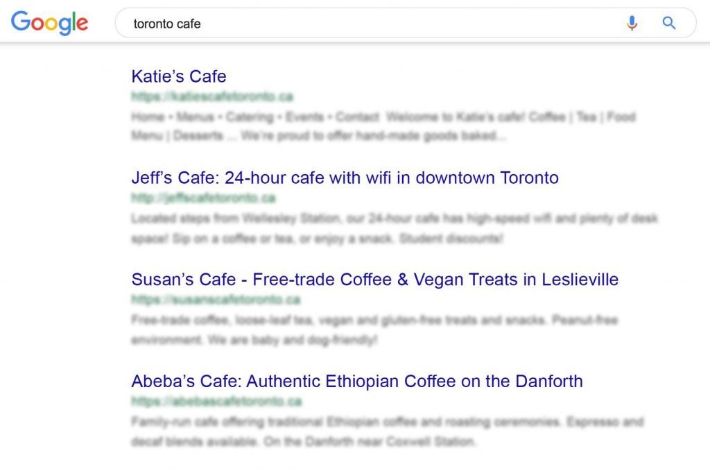 A Google search showing good and bad meta titles for cafes