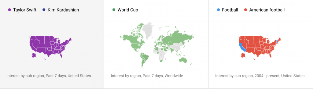 "Popular search terms by location. ""World Cup"" is popular throughout most of the world, so it's a good choice for international content marketing."