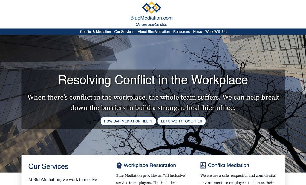 Screenshot of the BlueMediation website front page