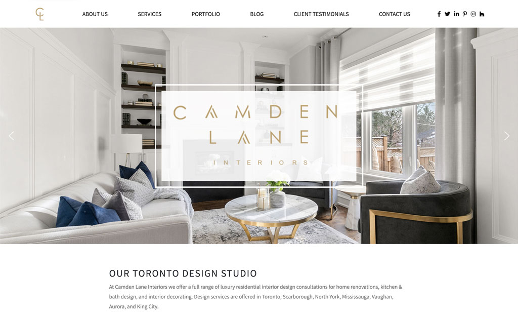 Screenshot of the front page of the new Camden Lane Interiors website
